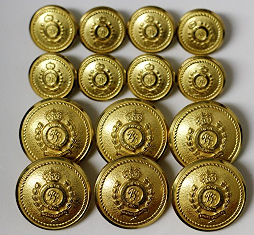 "Waterbury Half dome brass tone metal alloy BLAZER BUTTON SET ""BB 1818"" 14 buttons for double breasted jackets made in New England"