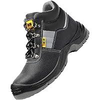 Baoblaze New Men's Non-slip Safety Industrial Construction Shoes Steel Toe Work Boots - Black, EU 45 US 11 UK 10