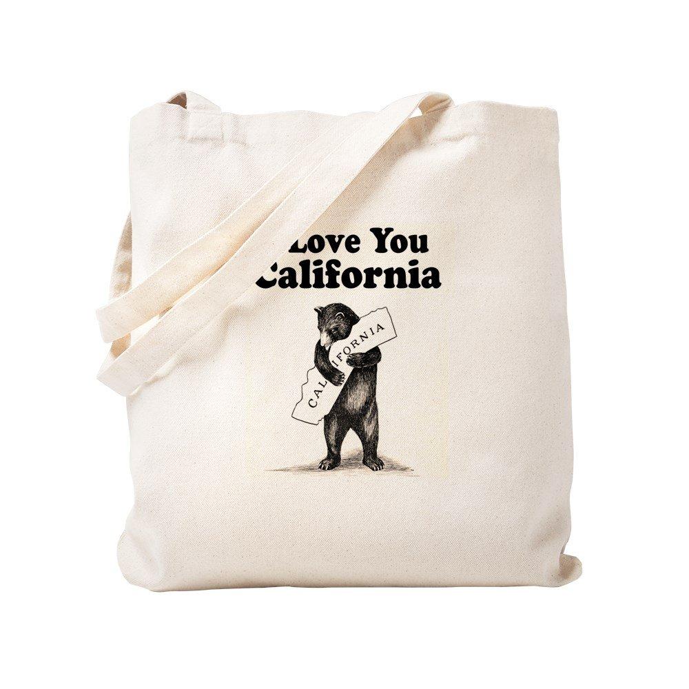 CafePress - Vintage I Love You California State Bear - Natural Canvas Tote Bag, Cloth Shopping Bag
