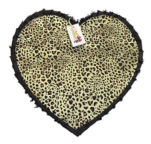 Black Color & Leopard Print Heart Pinata