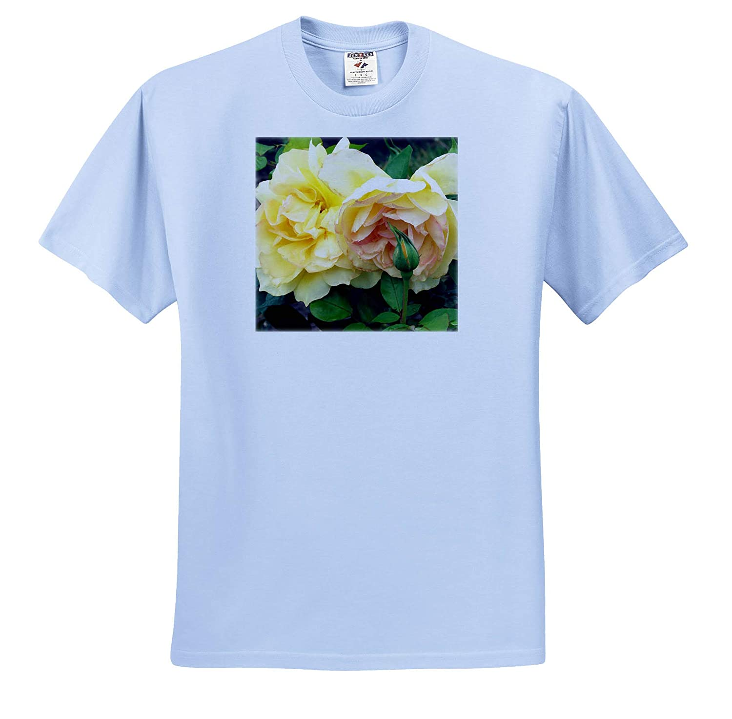 3dRose Jos Fauxtographee Two Lemon Colored Roses with Green Leaves T-Shirts Lemony Blonde Rose