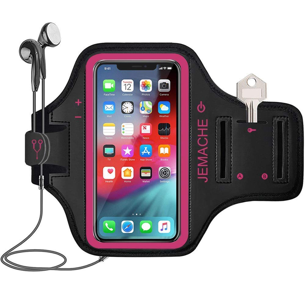 iPhone Xs Max Armband, JEMACHE Water Resistant Gym Running/Workouts Arm Band Case for iPhone Xs Max (6.5') 2018 with Key/Card Holder (Rosy) JEMACHE Water Resistant Gym Running/Workouts Arm Band Case for iPhone Xs Max (6.5) 2018 with Key/Card Holder (Rosy)