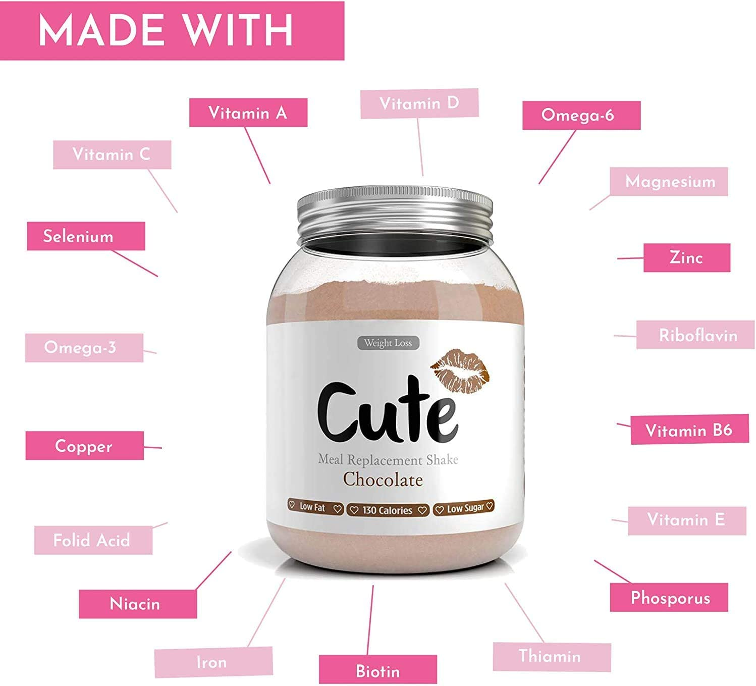 Cute Nutrition Chocolate Meal Replacement Shake with Pink Shaker and Pink Booty Band Weight Loss Control for Women Low Calories Low Fat