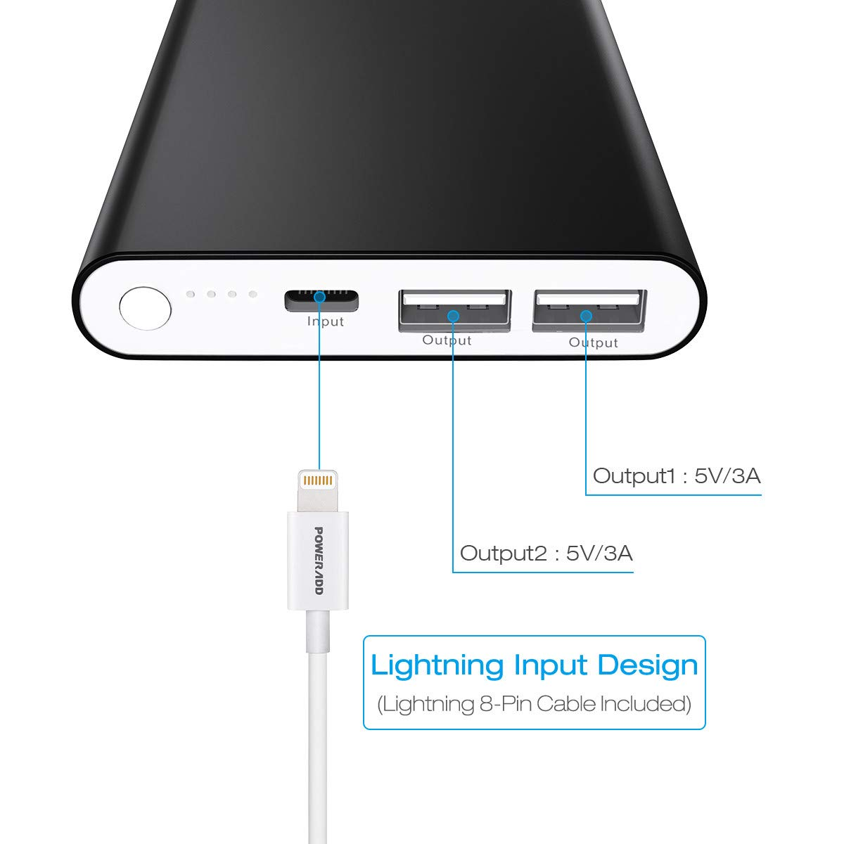 POWERADD Pilot 4GS 12000mAh Portable Charger with 8-Pin Input Power Bank Compatible with iPhone Xs//XR//X//8//8P//7//6S//6//SE//5//4S Samsung S9//S8//S7 and More Blue MFi 8 Pin Cable Included