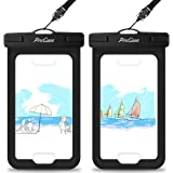 """Waterproof Case with Touch ID, ProCase Cellphone Dry Bag Pouch for iPhone XS Max XR XS X 8 7 6S Plus with Fingerprint Recognition, Galaxy S9 S8+ Note 8 HTC LG Sony Nokia Motorola up to 6.0"""" - 2 Pack"""