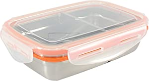 Mighty Hippo RECTANGLE Stainless Steel BENTO Lunch Container (Size: MEDIUM) - 2 Compartments (Removable Divider/Leak Proof/Dishwasher Safe/Reusable/Food Safe/Metal/BPA Free/Meal Prep)