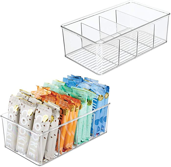 mDesign Plastic Food Storage Organizer Bin Box - 4 Divided Sections - Holder for Seasoning Packets, Pouches, Soups, Spices, Snacks for Kitchen, Pantry, Cabinet, Refrigerator, 2 Pack - Clear