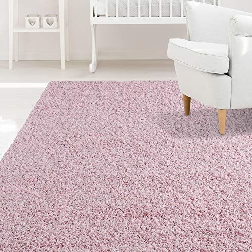 (iCustomRug Affordable Shaggy Rug Dixie Cozy & Soft Kids Shag Area Rug Solid Color Pink, for Children's Play Area, Bedroom or Nursery Carpet 5 Feet x 7 Feet (5' x 7'))
