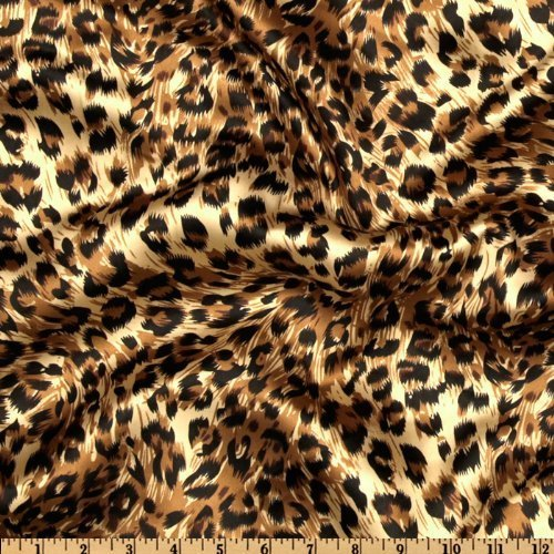 (Ben Textiles Charmeuse Satin Big Cheetah Tan/Brown/Black Fabric By The Yard)