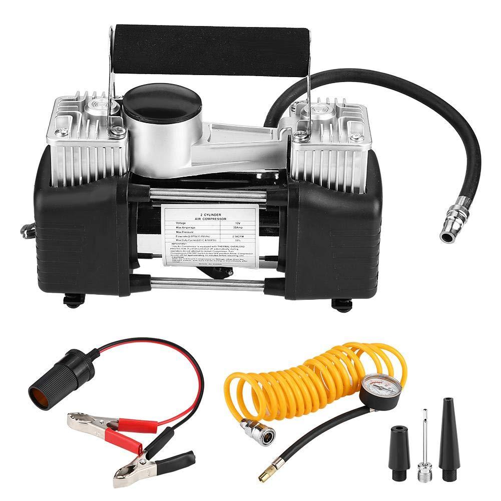 Aramox Car Air Pump, 12V Car Dual Cylinder Air Compressor Pump 150PSI 35L min Tire Inflator with Pressure Gauge