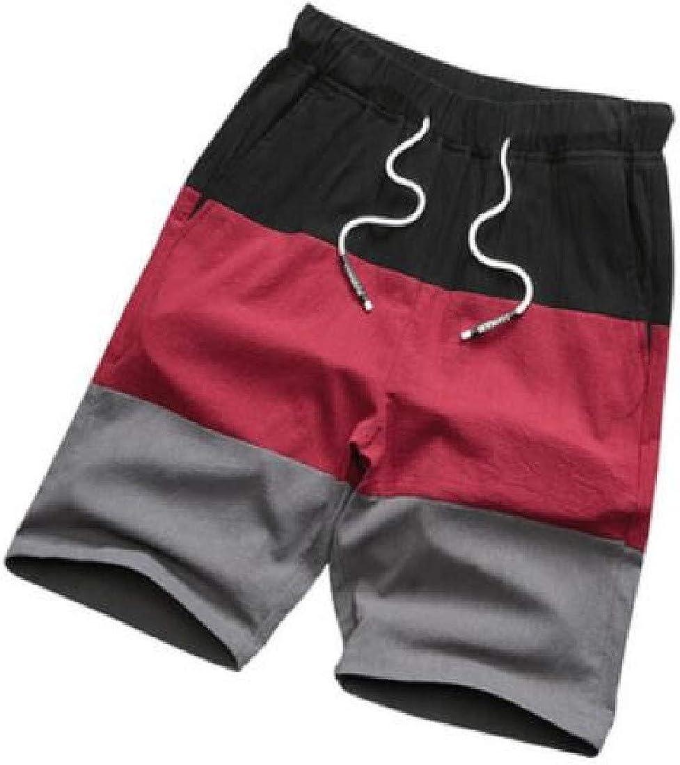 Joe Wenko Mens Casual Camouflage Knee-Length Elastic-Waist Waist Drawstring Shorts Pants