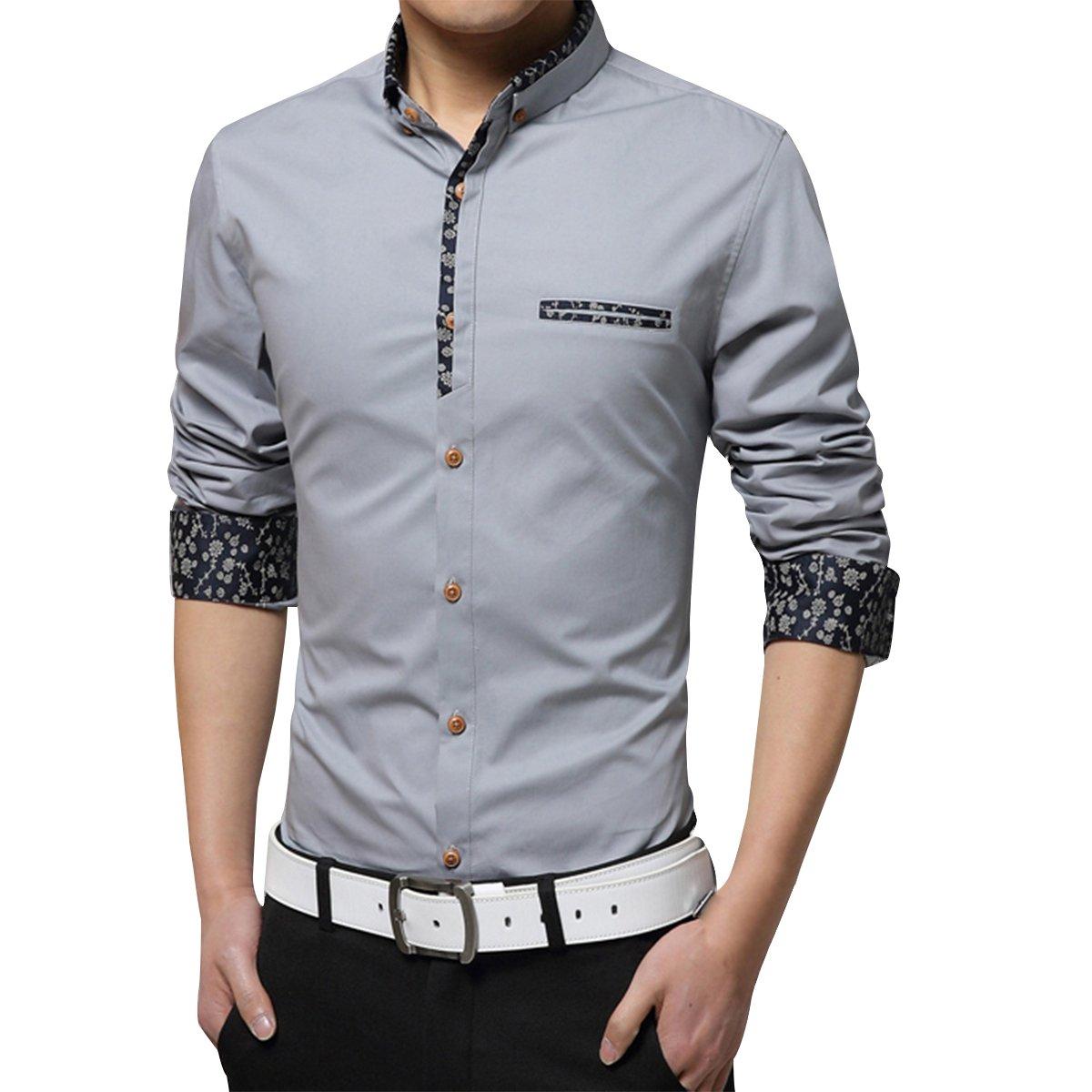 Pishon Mens Long Sleeve Shirts Wrinkle Free Contrast Collar Button Down Shirts