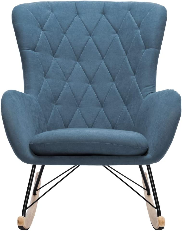 Relax Chair Rocking Chair Linen Armchair With Diamond Back And Solid Wood Legs For Home Furniture Bedroom Living Room Blue