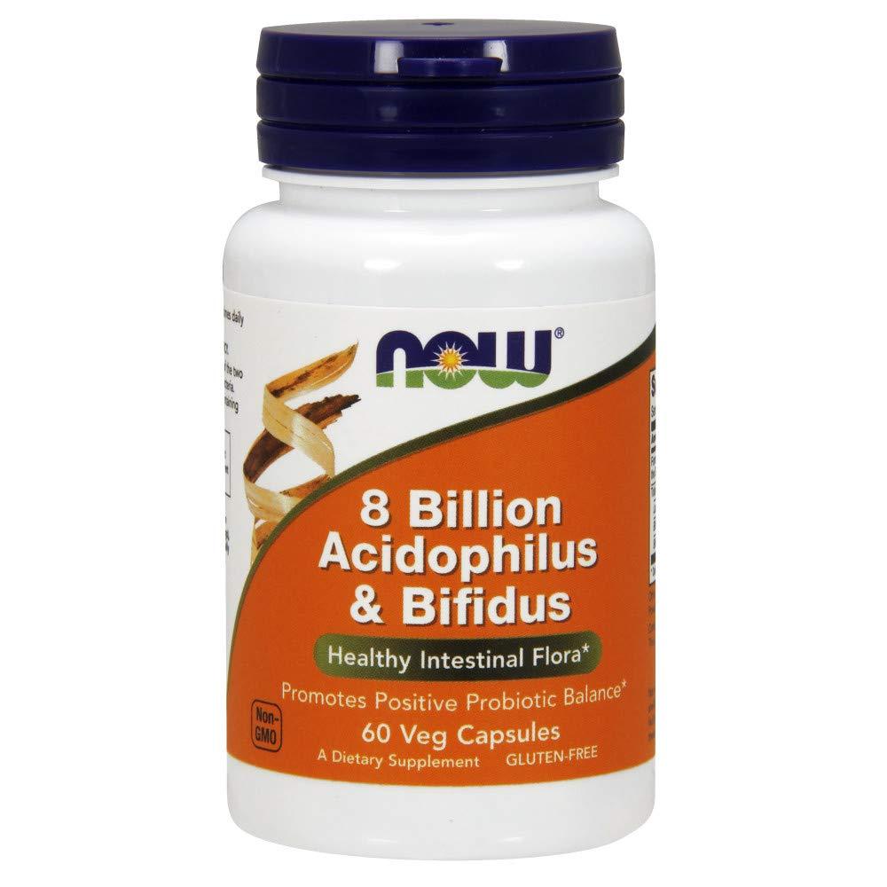 NOW Supplements, 8 Billion Acidophilus & Bifidus, Dairy, Soy and Gluten Free, Strain Verified, 60 Veg Capsules