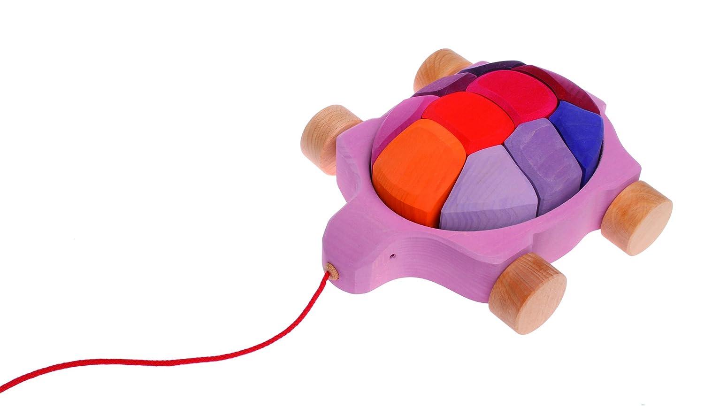(Rosalie) - Grimm's Turtle Pull Along Toy with Waldorf Building Blocks, Rosalie Turtle (Lollipop Colours)   B00AO80J1S
