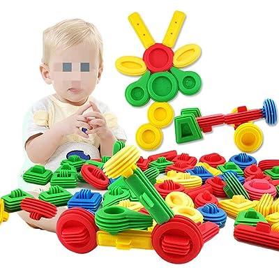 Juguete Educativo Clásico 65 unidades Bloques de construcción Juguetes de construcción para niños Aprendizaje inteligente Bloque de construcción con barra de almacenamiento de regalo para niños: Hogar