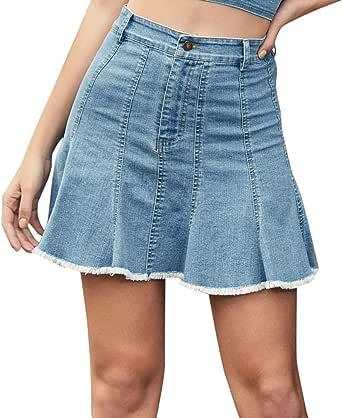 Conquro Skirt Falda para Mujer Alta Pantalones Cortos de Mezclilla ...