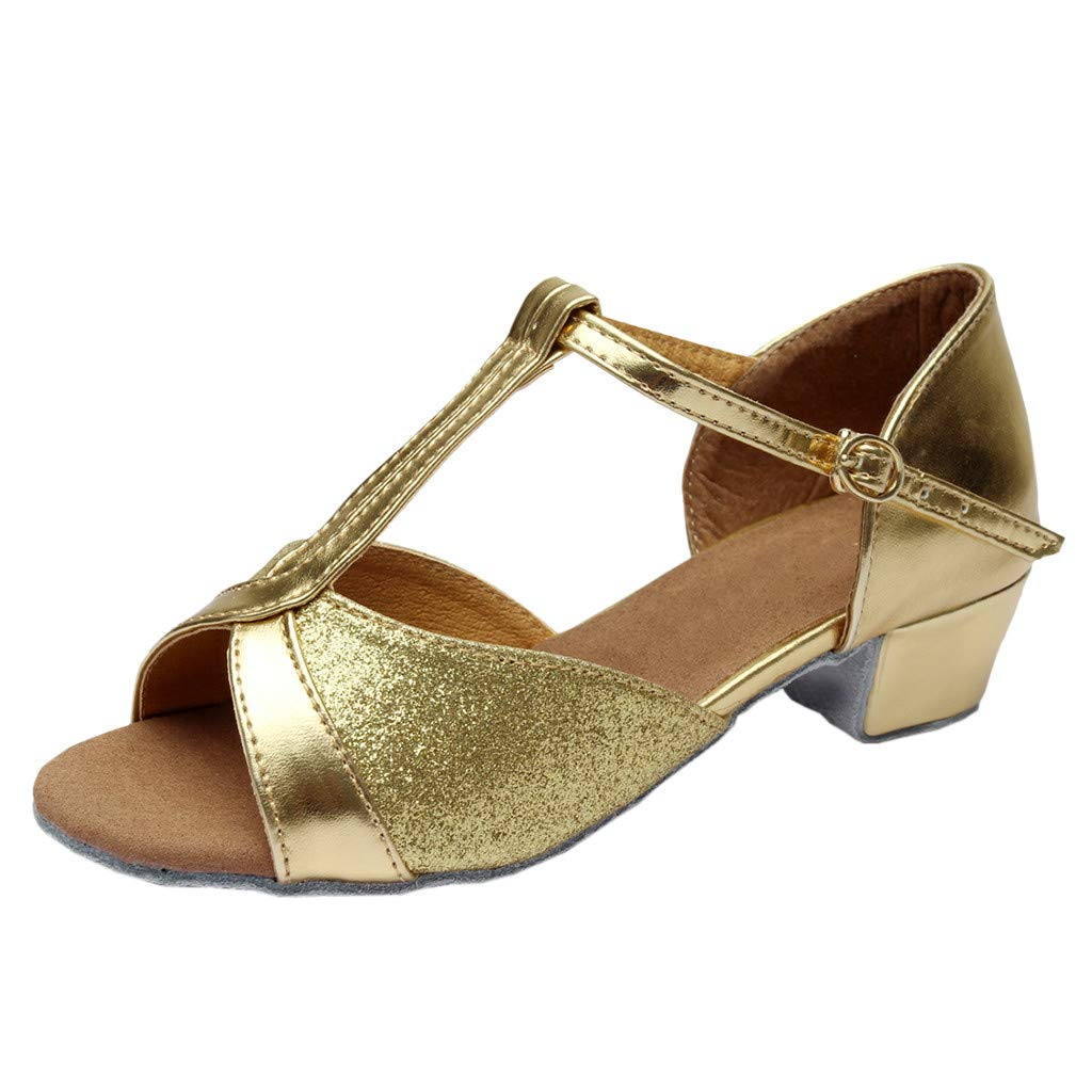 ★QueenBB★ Kids T-Strap Glitter Synthetic Salsa Tango Ballroom Latin Party Dance Shoes Wedding Shoe for Girls Gold