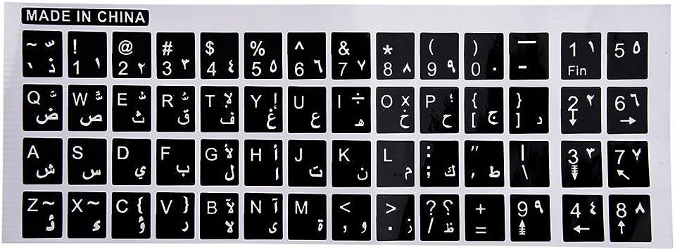 REFURBISHHOUSE Blanco Letra Inglesa arabe calcomania Pegatina de Teclado Inglesa arabe Letras Blancas Negro para PC Ordenador portatil