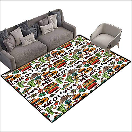 Front Mat Home Decorative Carpet Colorful Mexican Decorations,Viva Mexico with Native Elements Poncho Tequila Salsa Hot Peppers Image,Multi 80