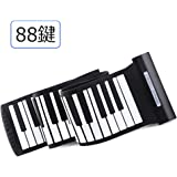 YOI Vocal MIDIキーボード 電子ピアノ 88鍵盤 フットペダル付き シリコン製 ハンドロールピアノ USB MIDI出力 携帯用キーボード ピアノ 音量調節 練習用 初心者 プロ 携帯便利 日本語取り扱い説明書 MI-001 (ブラック, 88鍵ーデバイス接続必要)