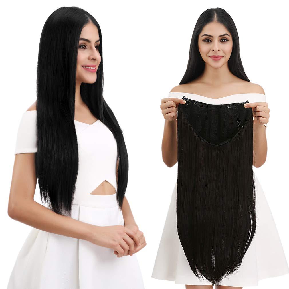 REECHO 28'' Long Straight Half Wig U-Shape 7 Clips in for Women Black Brown