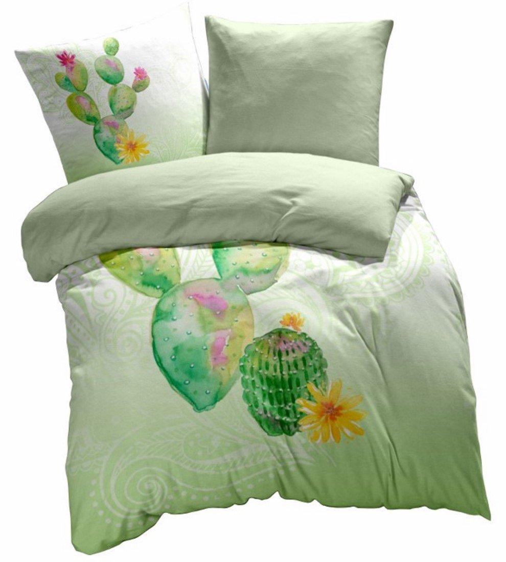 Living Dreams Mako-Satin Wende-Bettwäsche Kaktus Paisley Paisley Paisley 155x220 cm grün 5ef3ac