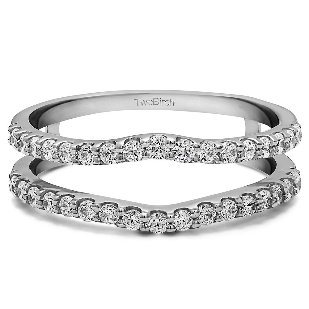 1 ct. Diamonds G,I2 Double Shared Prong Curved Ring Guard in Silver (1 ct) (Size 3 to 15 in 1/4 Sizes)