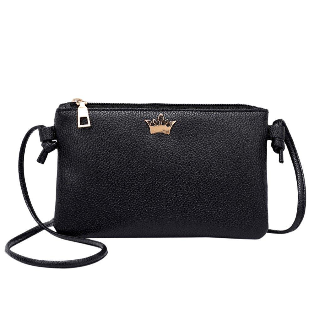 Leather Shoulder Bags,Rakkiss Womens Coin Bag Crossbody Bag Pure Color Small Messenger Bag Satchel Package Black