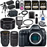 Canon EOS 5D Mark IV DSLR Camera (Body Only) 1483C002 + EF 24-70mm f/2.8L II USM Lens + Canon EF 75-300mm f/4-5.6 III Telephoto Zoom Lens + Canon EF 50mm f/1.8 STM Lens 0570C002 Bundle