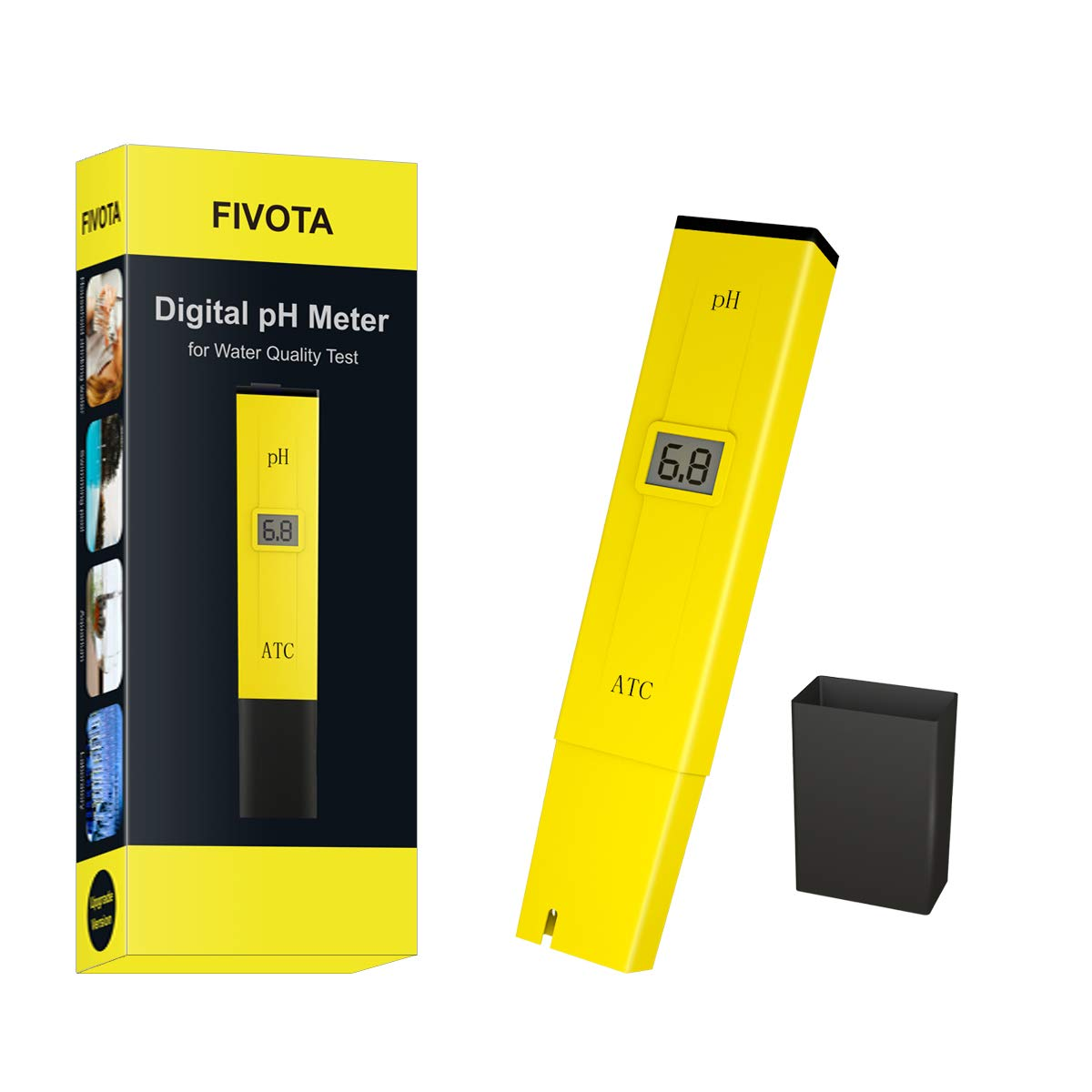 Fivota pH Meter, Digital pH Tester/Water Quality Tester for Drinking Water, Swimming Pools, Aquariums, Hydroponics, ATC Function, LCD Display