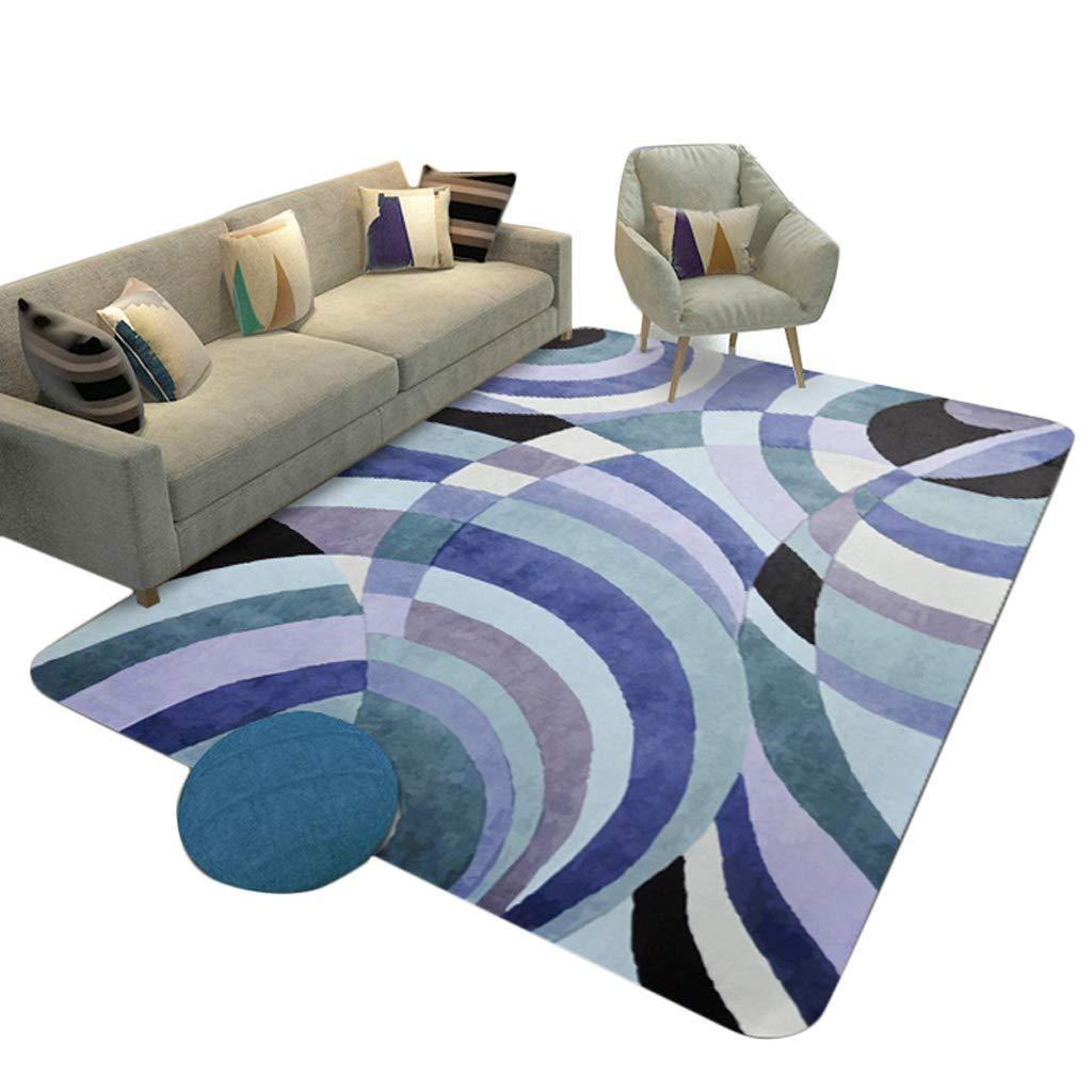 古典的な長方形の家の柔らかいカーペットの北欧スタイルのリビングルームの寝室大面積アート敷物モダンなミニマリストのソファベッドサイドパッドダニの滑り止めの子供クロールマット、カスタマイズ可能なブルー(サイズ:180 * 230 CM) (サイズ さいず : 180*230CM) B07S4KBP9N  180*230CM