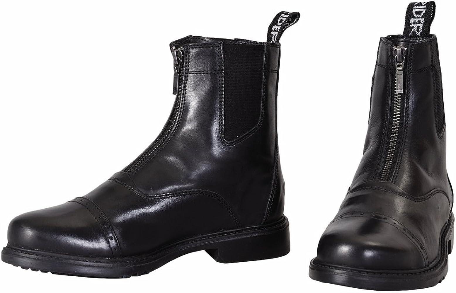 9ac20114bab TuffRider Men's Barouque Front Zip Paddock Boots with Metal Zipper, Black,  ...