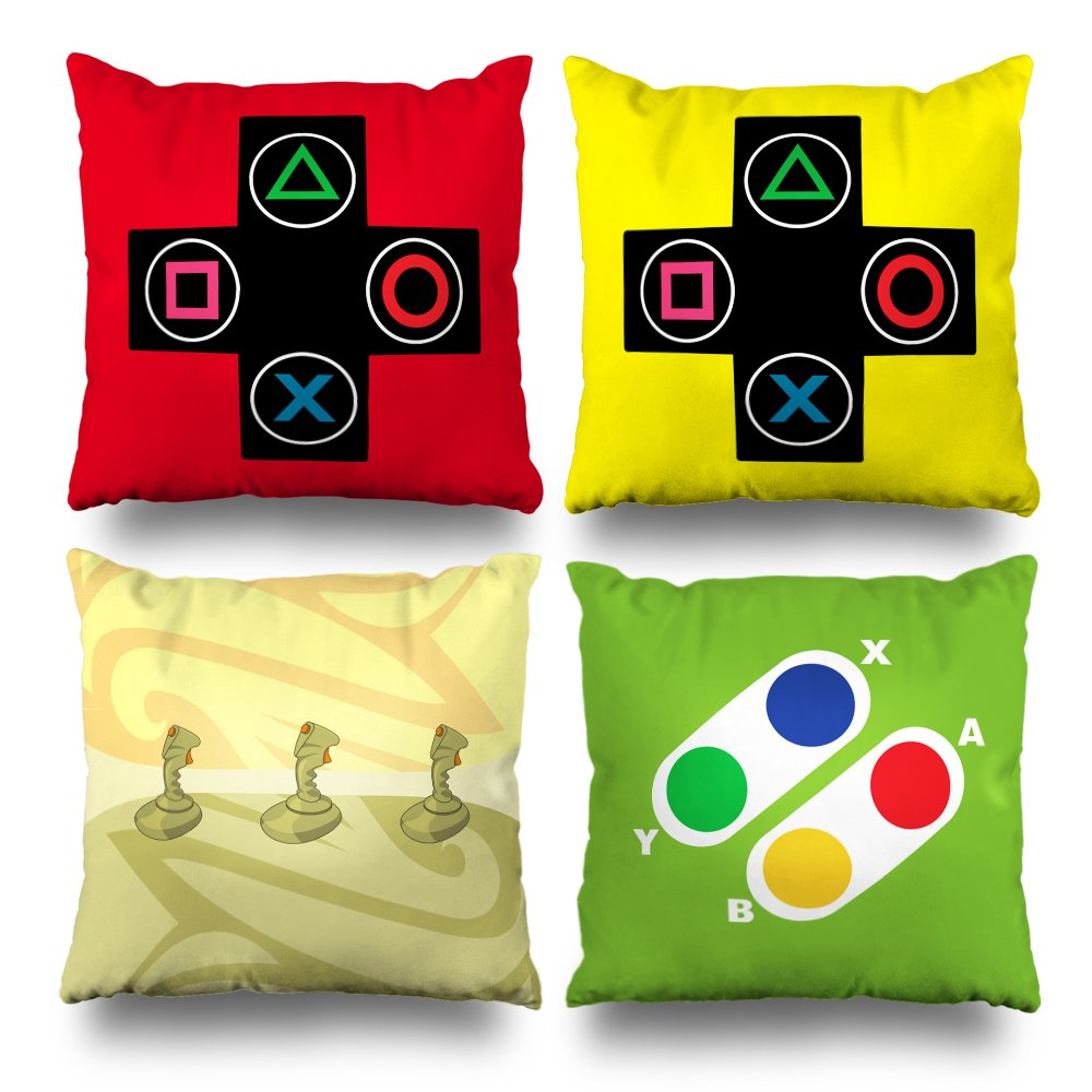 Kutita Set Of 4 Decorativepillows 18 x 18 inch Throw Pillow Covers,Video Games Controller Gamer Geek Joystick Double-sided Decorative Home Decor Pillowcase