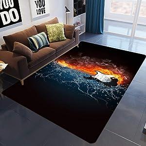 KFEKDT Guitar Drum Rug Living Room 3D Printed Carpet Kids Room Music Abstract Flame Carpet Bedroom Living Room Anti-Slip Floor Mat A1 60x90cm