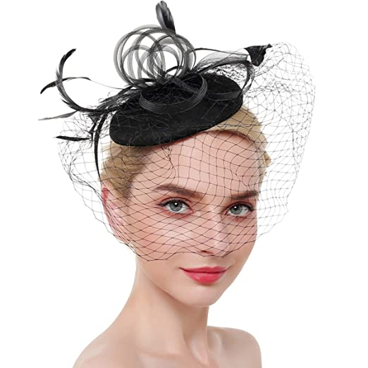 01cabaeda59 Image Unavailable. Image not available for. Color  Airrioal Fascinator Hats  For Women Clip Pillbox Hat Bowler Feather Flower ...