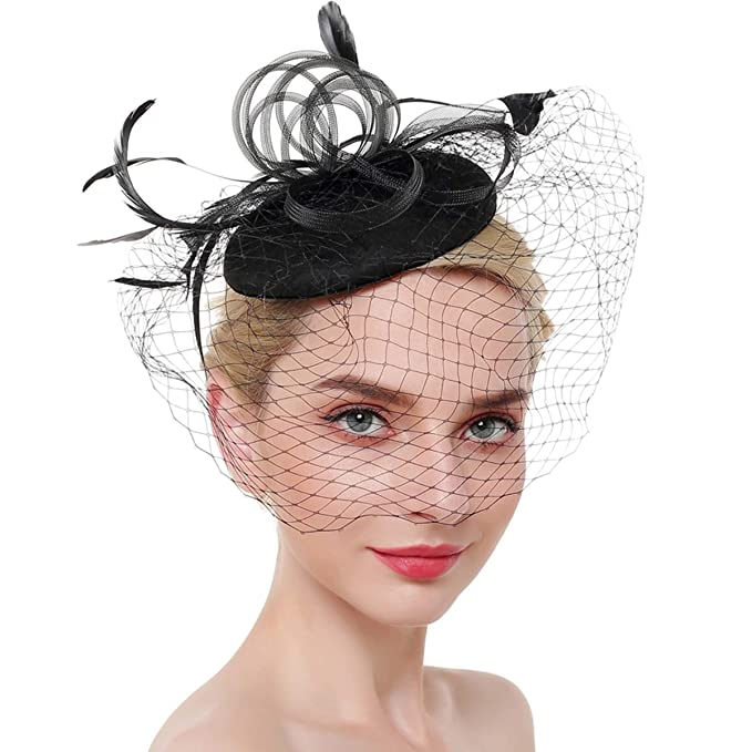9bc0234ce80 Image Unavailable. Image not available for. Color  Airrioal Fascinator Hats  For Women Clip Pillbox Hat Bowler Feather Flower Tea Party Headband