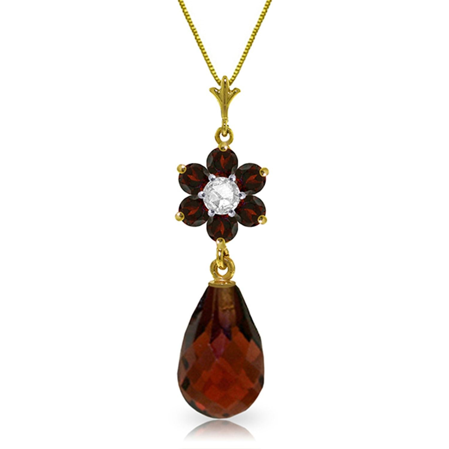 ALARRI 2.78 Carat 14K Solid Gold Tuft Of Flowers Garnet Diamond Necklace with 18 Inch Chain Length