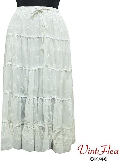 falda blanca georgette de largo maxi abrigo verano vestido hippie ...