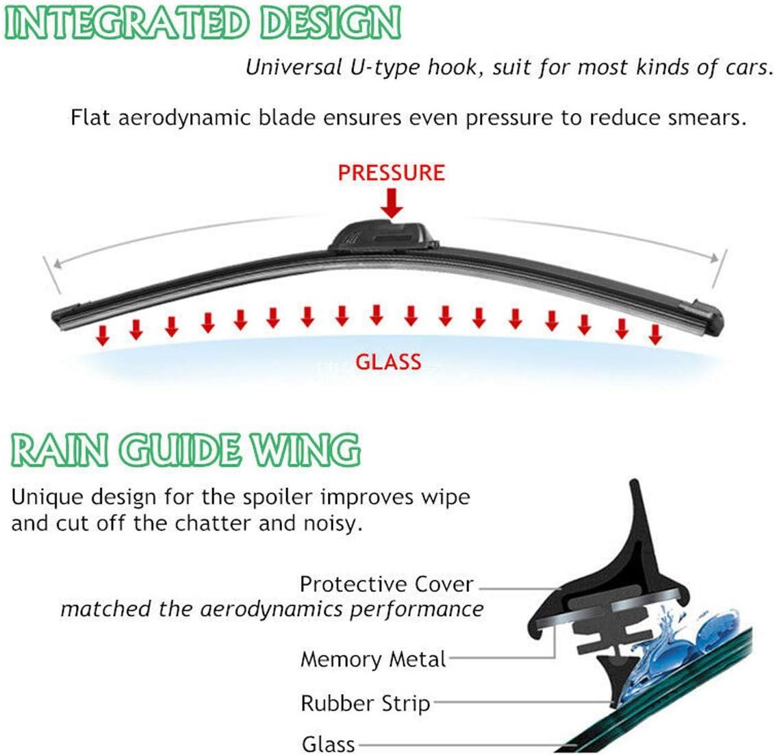 Universal Car U-type Frameless Bracketless Rubber Windshield Wiper Blade Brush !