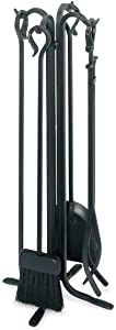 """Pilgrim Home and Hearth 18003 Forged Hearth Fireplace Tool Set, 28""""/16 lb, Matte Black"""
