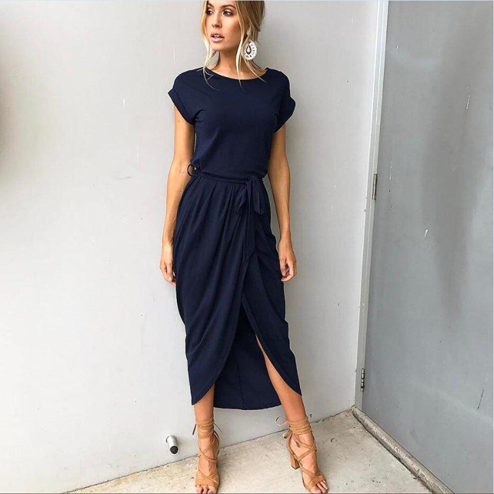 Snowfoller Women Casual O Neck Front Split Long Dress Summer Short Sleeve Cotton Maxi Dress Slim Bodycon Dress With Belt