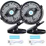 USB Clip Desk Personal Fan - Battery Operated Rechargeable 2800mAh Battery & USB Cable 360°Rotation,Adjustable Speed.Cooling Portable Mini Fan Baby Stroller,Office,Gym,Travel(Black, 2 Pack)