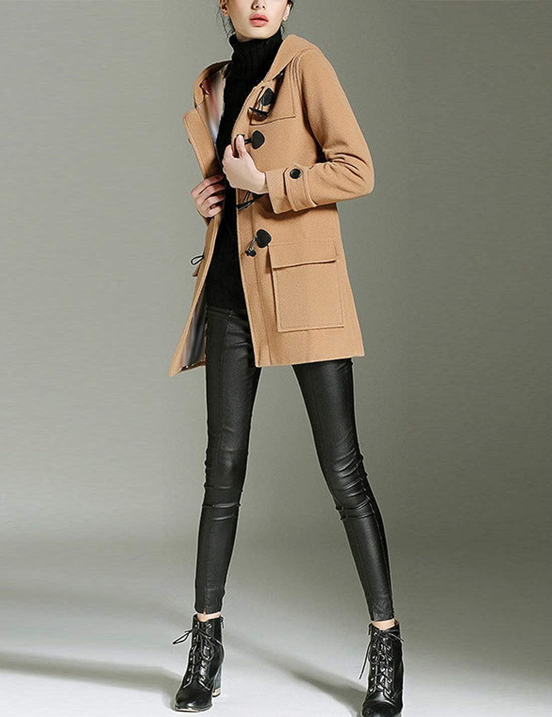 Uaneo Womens Fleece Wool Hooded Jacket Outerwear Duffle Coat Outerwear