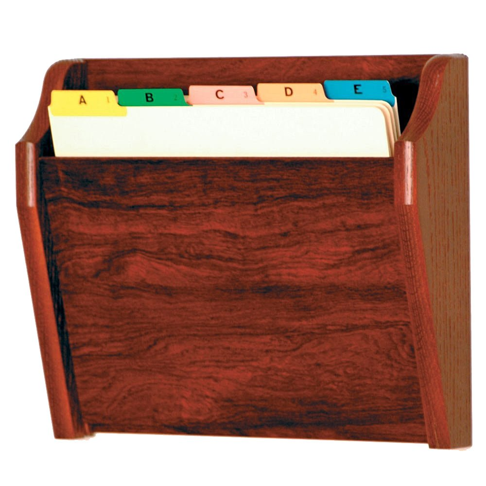 DMD Chart or File Holder, Tapered Single Pocket, Letter Size, Wall Mounted, Mahogany Oak Wood Finish