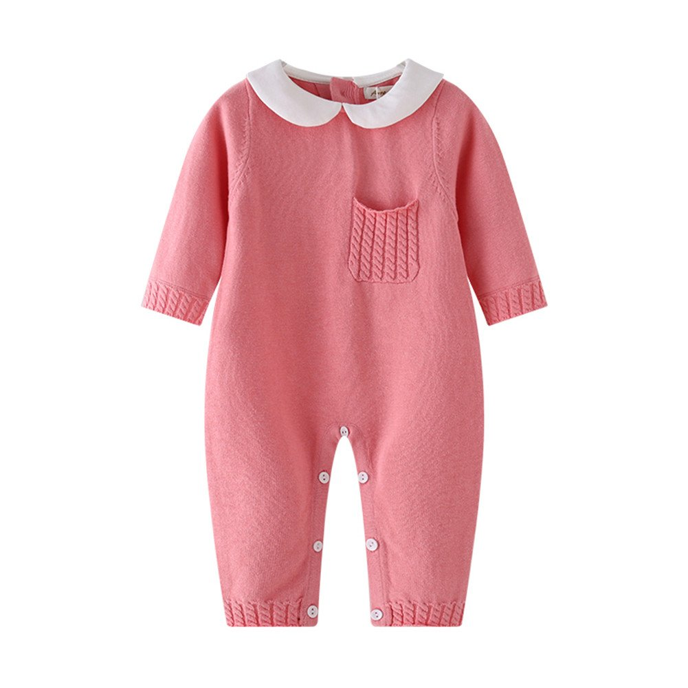 185da9ade4a Amazon.com  Auro Mesa Baby Knit Romper Unisex Baby Clothes Peter pan Collar  Baby Costume Baby Fall Outfits (3-6M)  Baby