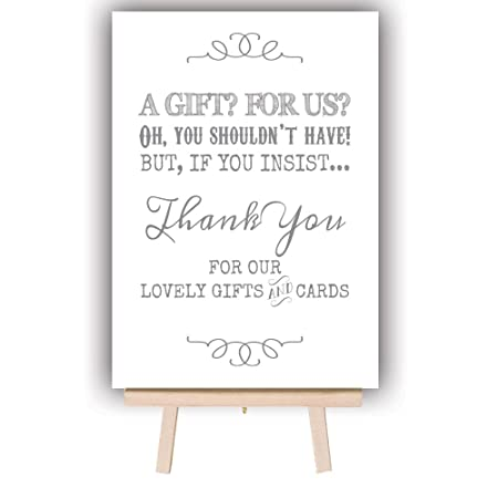 Vintage Wedding Gift Table Post Box Sign With Wooden Easel A4