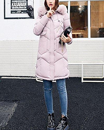 Coat Colletto lunga cappuccio Parka con Piumino Giacca Pink Donna Grande Sezione tpFq8