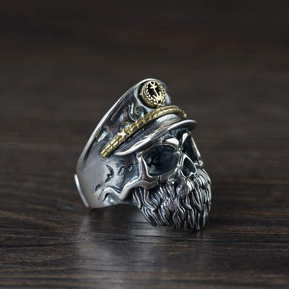 Sterling Silver Ring Thai Silver Retro Craft Skull Shape Silver Ring Opening Jewelry for Men Silver