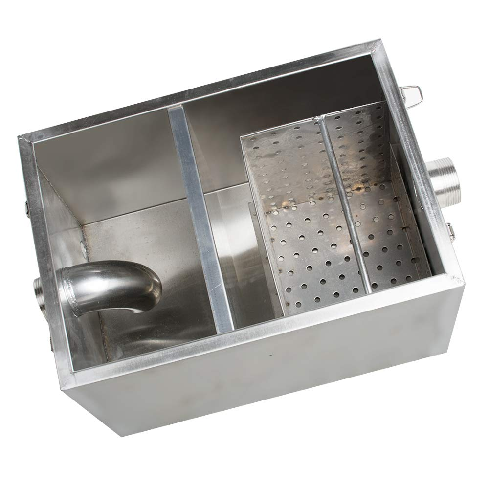 Shipping from USA Stainless Steel Grease Trap Interceptor Set Detachable Design For Restaurant Kitchen Wastewater Removable Baffles